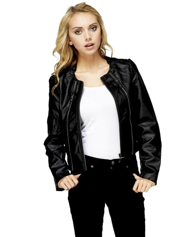 Womens Faux Leather Shell Stylish Black 3 Zipper Jacket