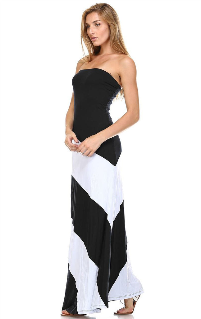 Strapless Maxi Dress Double-Lined Black White Colorblock