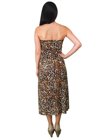 Leopard Gold Black Tan Foldover Maxi Skirt