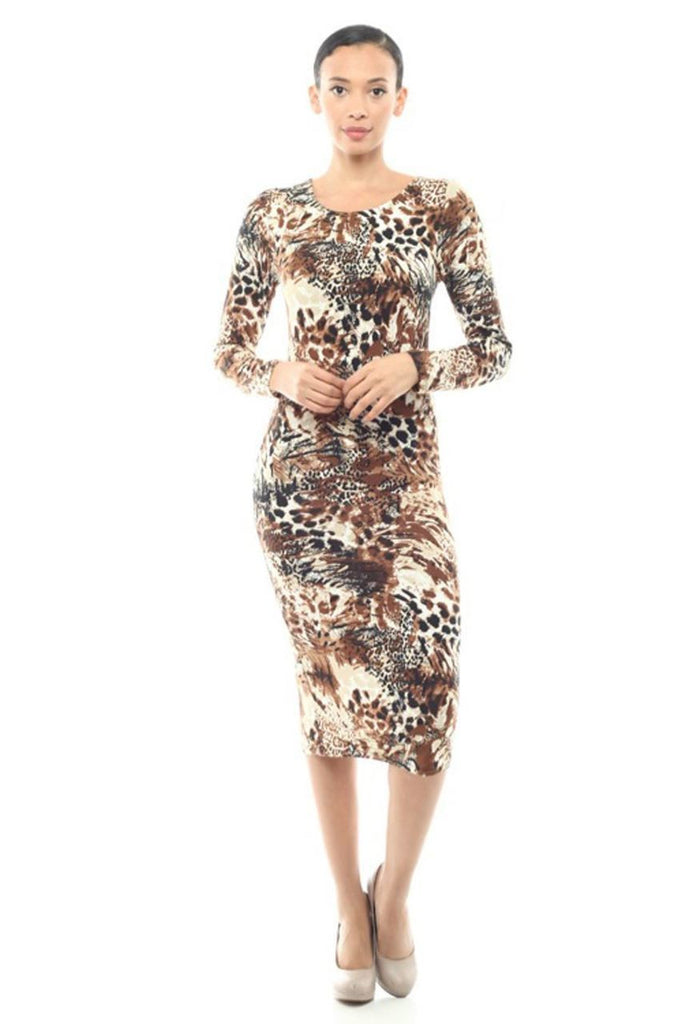 Casual Dress Dress Animal Print Brown