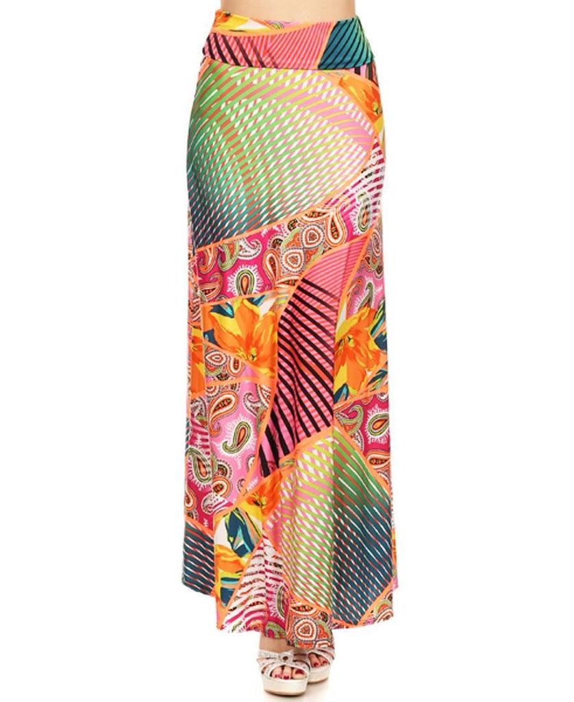 Garden Paisley and High Fans Maxi Skirt Orange