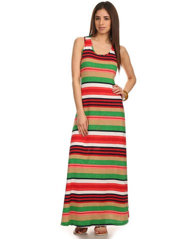 Racerback Maxi Dress Striped Red Green