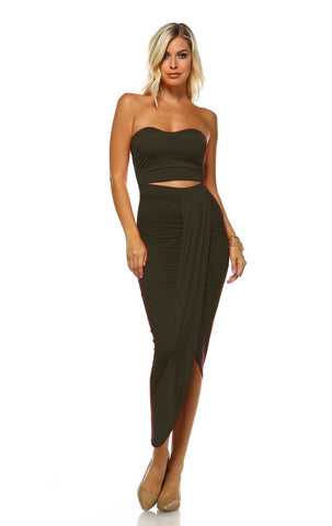 Strapless Bodycon Maxi Club Dress Ruched Detail with Cutout Olive