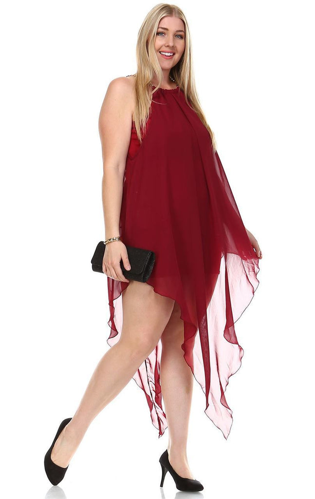 Plus Size Cocktail Dress Asymmetrical Hem with Gold Chains Royal Burgundy