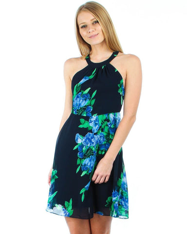 Blue Green Black Floral Halter Top Mini Dress with Side Openings