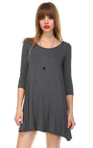 Strappy Back Dress Sleeveless and 3/4 Sleeve Charcoal