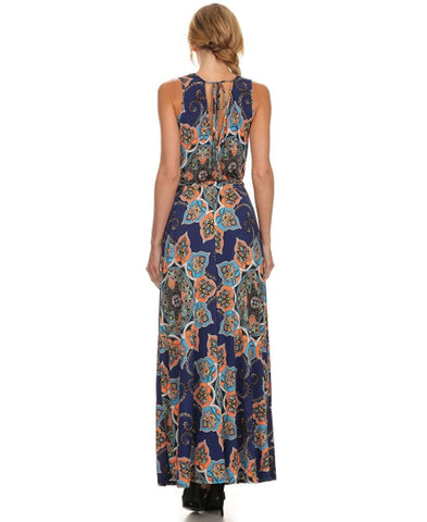 Sleeveless Paris Maxi Dress Crystal Paisley Black Arm