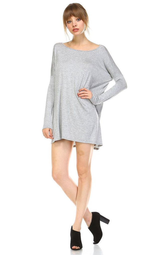 Tunic Top Shirt Dress Oversized Round Neck Long Sleeve Gray Large/X-Large
