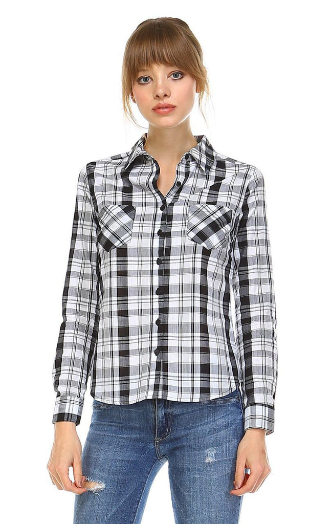 Plaid Shirt Button Up Black White