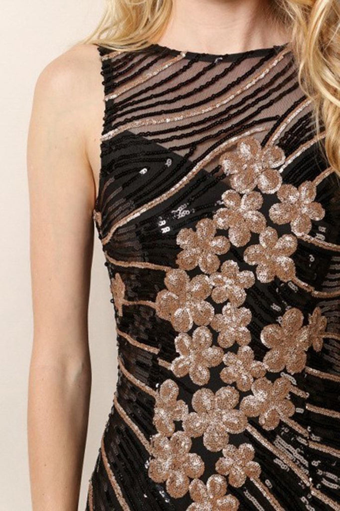 Designer Sequin Party Mini Dress Floral Black Gold