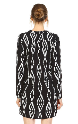 Tunic Top Blouse Tribal Diamond Black White