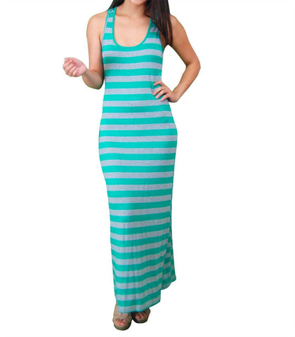 Racerback Maxi Dress Green Gray