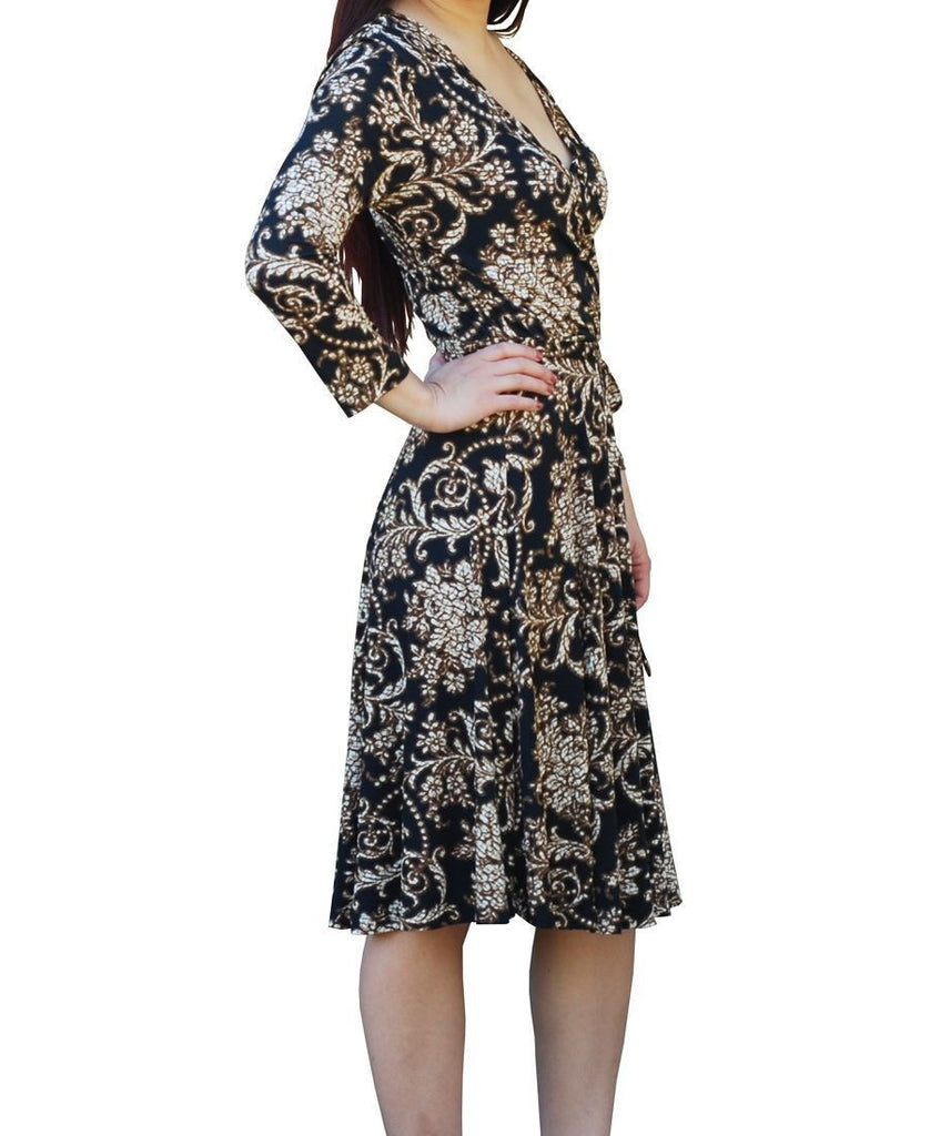 3/4 Sleeve Black Brown Flourish Short Dress with Tie Belt Black Brown