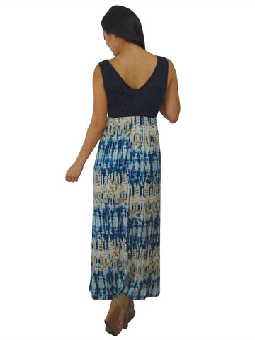 Soft and Smooth Sleeveless Navy Blue Maxi Dress