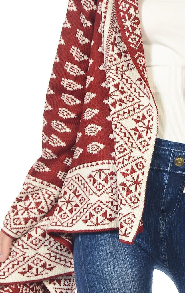 Aztec Cardigan Tribal Sweater Geo Burgundy White