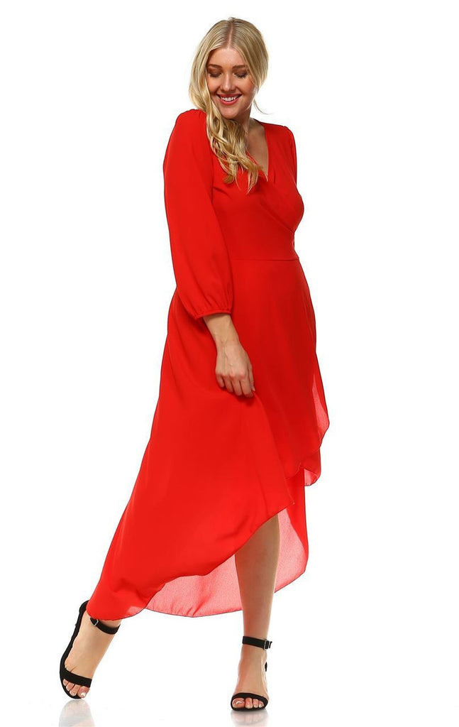Plus Size Wrap Dress with Sleeve and Belt Red