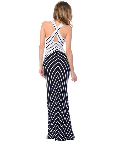 Maxi Dress Sleeveless Cross Back Navy Blue White