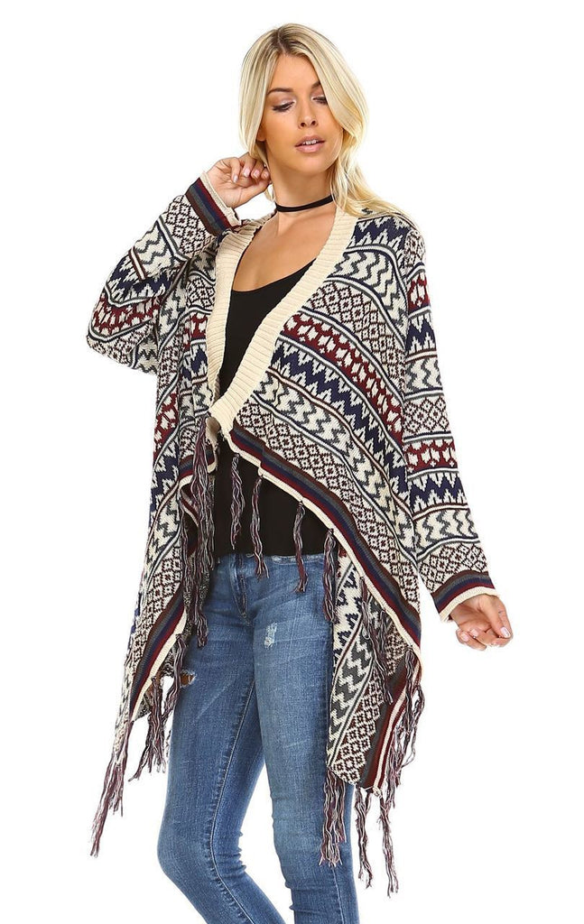 Open Front Oversized Fringe Cardigan with Winter Print Beige