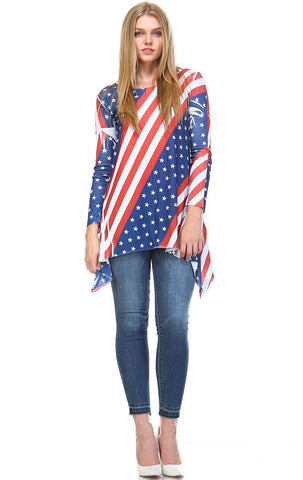 Patriotic Shirt Long Sleeve Liberty Red White Blue
