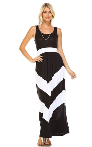 Sleeveless Evening Chevron Maxi Dress Black White