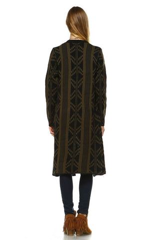 Long Trench Cardigan Tribal Sweater Geometric Olive Green