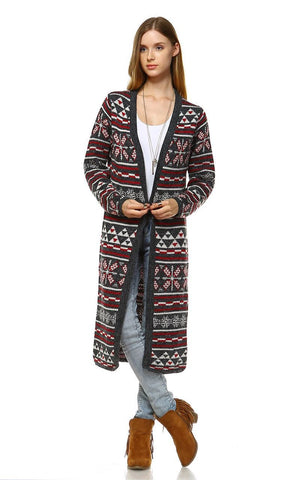 Long Aztec Cardigan Tribal Sweater Holiday Isle Pattern Red Gray