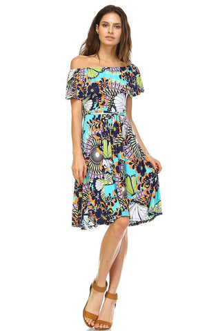 Off The Shoulder Knee Length Dress Butterfly Turquoise