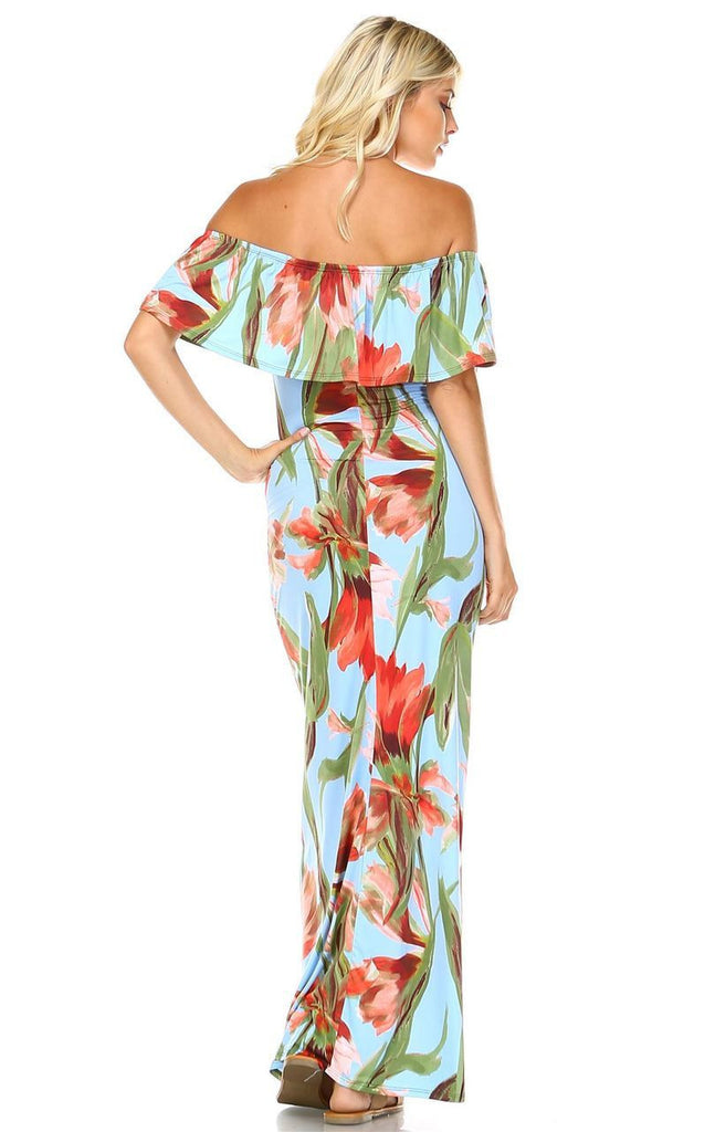 Off The Shoulder Fitted Maxi Dress Floral Flower Blue