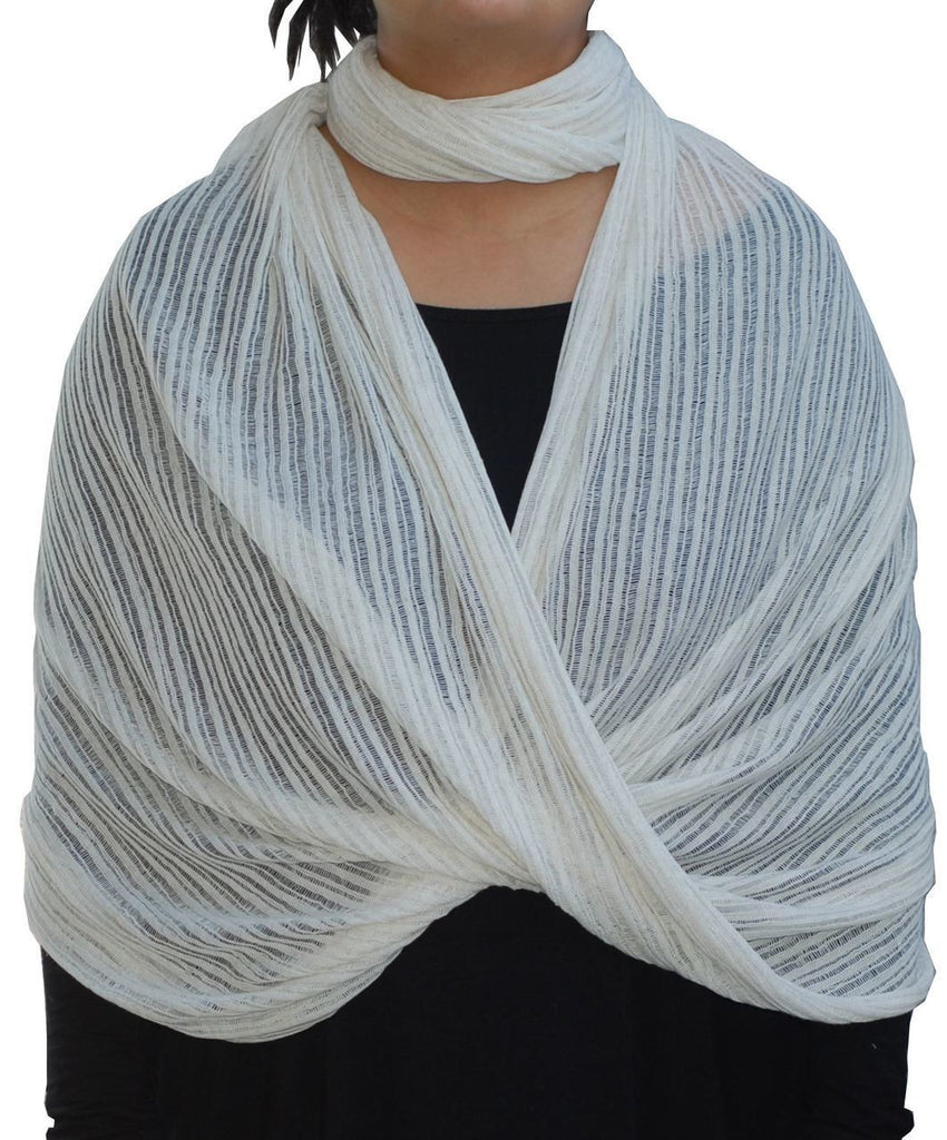 Fashion Scarf Infinity Shawl Off White Beige One Size