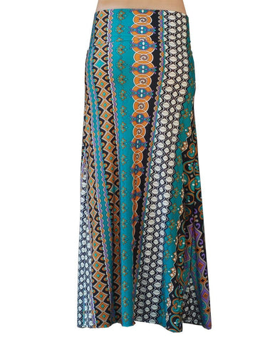 Maxi Skirt Medallions Orange Teal White