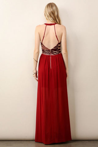 Sleeveless Sequin Maxi Dress High Slit Open Back Burgundy