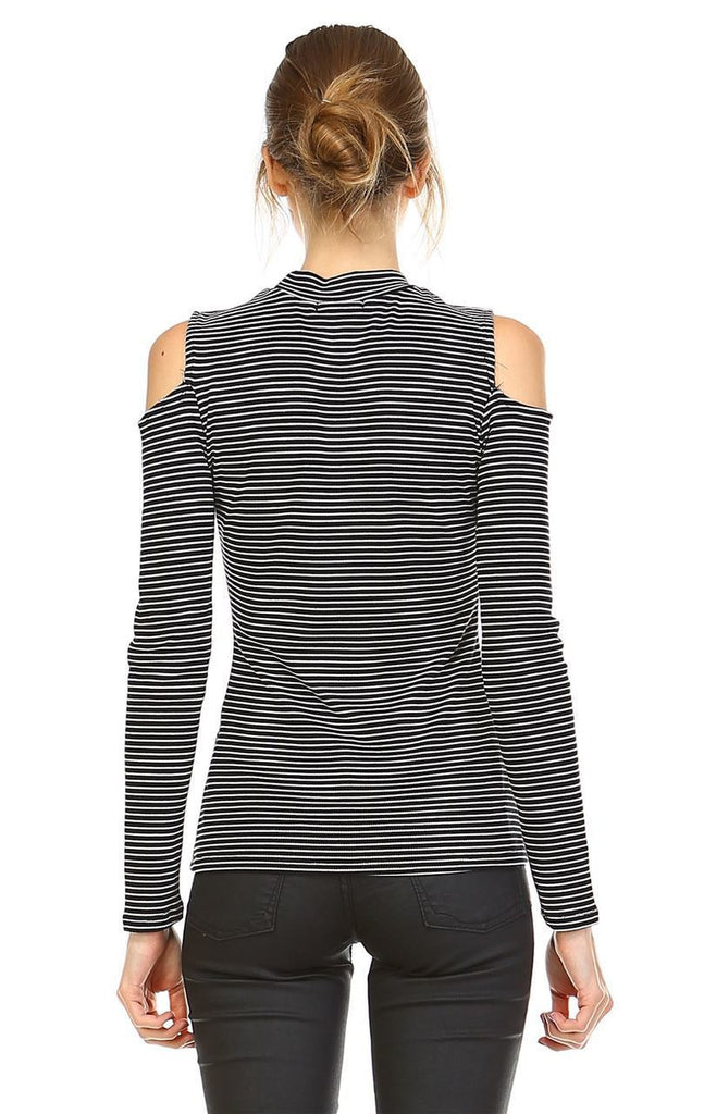 Cold Shoulder Top Long Sleeve Stripe Black White