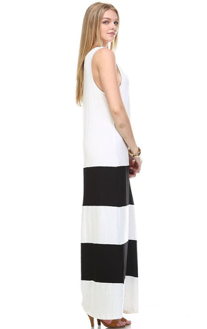Racerback Maxi Dress Sleeveless White Black