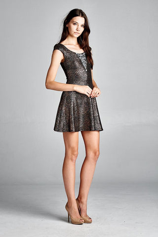 Glitter Party Skater Dress Rhinestone Neckline Rose Gold