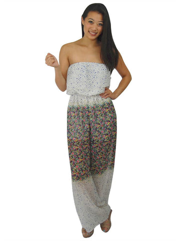 Jumpsuit Romper White Mini Floral