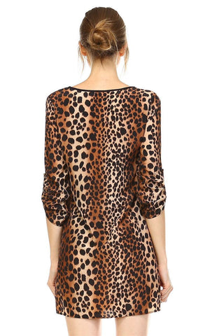 Relaxed Fit Printed Tunic Top Blouse Cheetah Brown Black Tan
