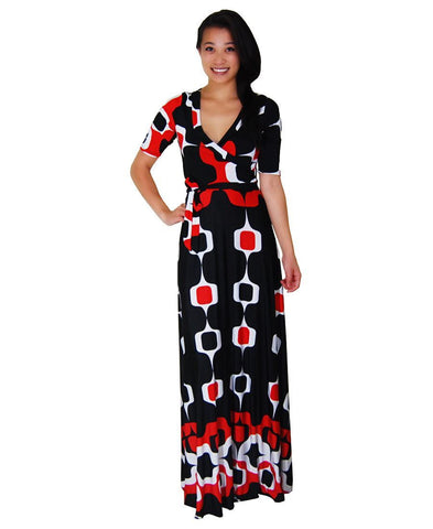 Maxi Dress with Sleeves Paper Chain Black Red