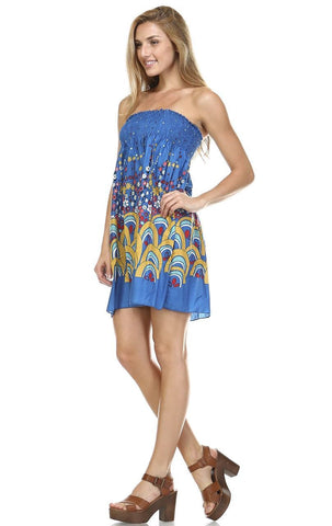 Blue Mini Floral Elastic Band Top Sundress