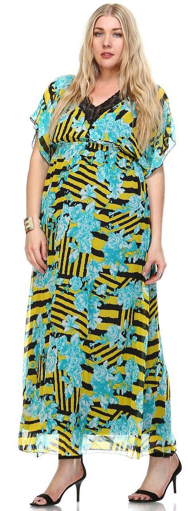Plus Size Sleeveless Maxi Dress Ruffle Skirt Checkered Yellow Blue