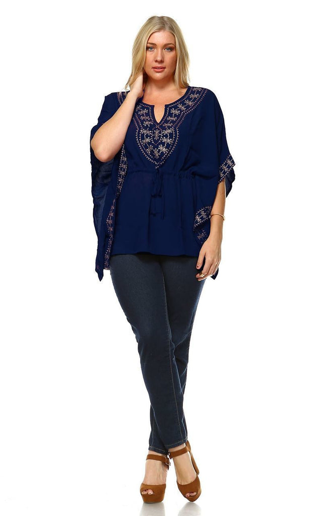 Plus Size Shirt Embroidered Detail String Waist Navy