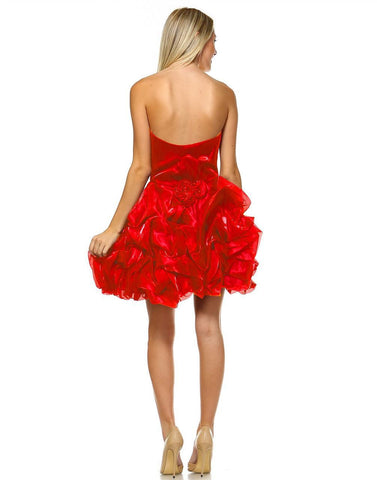 Homecoming Ruched Cocktail Dress Bubble Hem Red