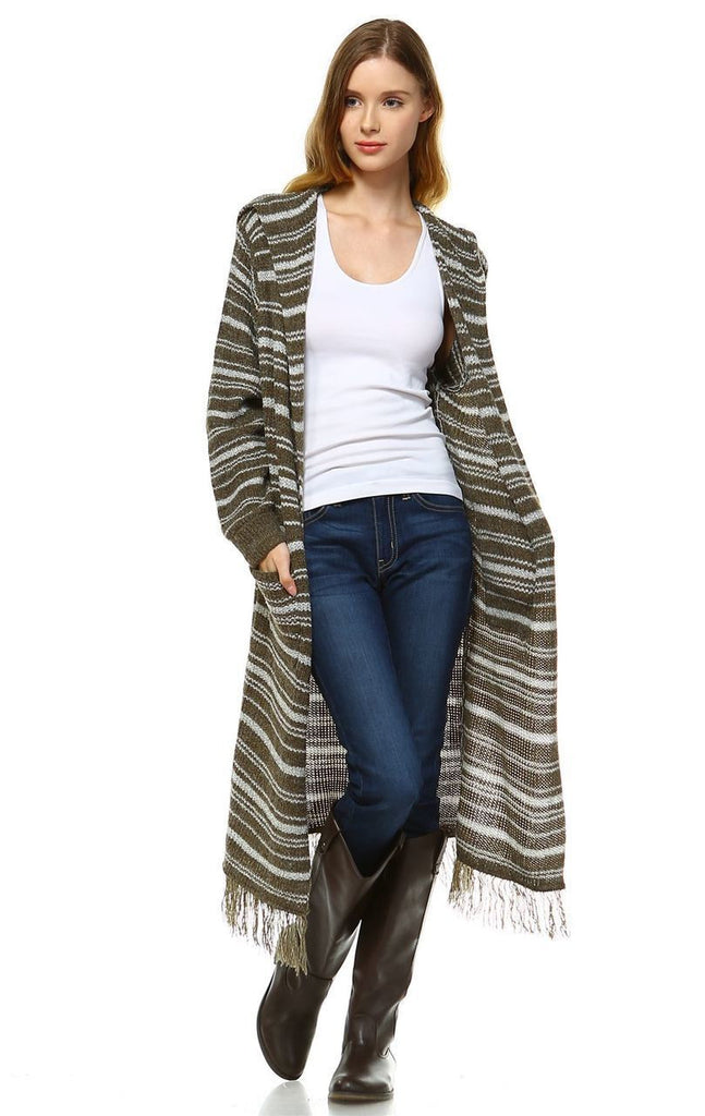Long Cardigan Sweater Striped Hoodie Hood Olive Green