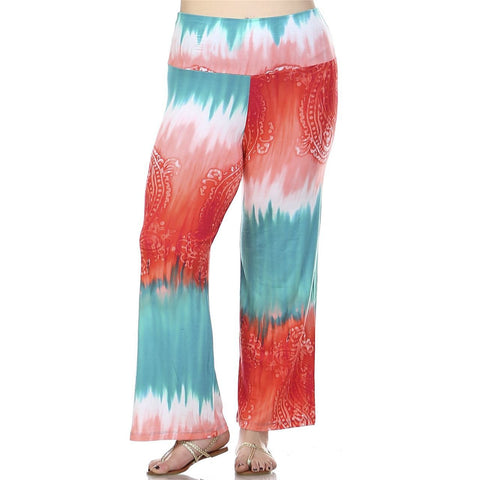 Foldover Palazzo Pants Abstract Paisley Teal Pink