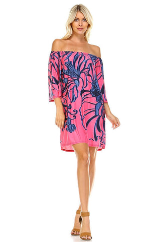 Off Shoulder Tunic Dress Navy Flowers on Coral Pink