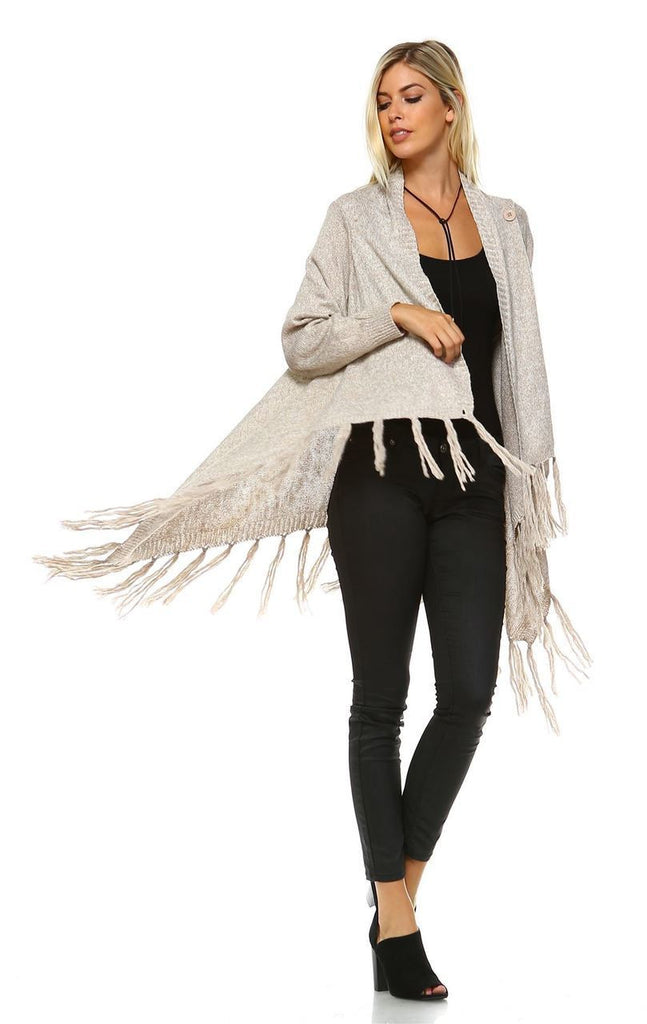 Cowl Aztec Cardigan Tribal Sweater Ponchos Oatmeal Tan
