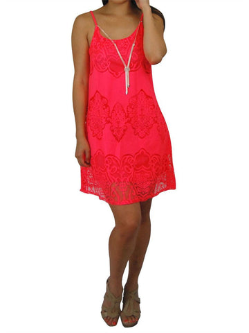 Spaghetti Lace Ornament Mini Dress with Fashion Necklace Hot Pink
