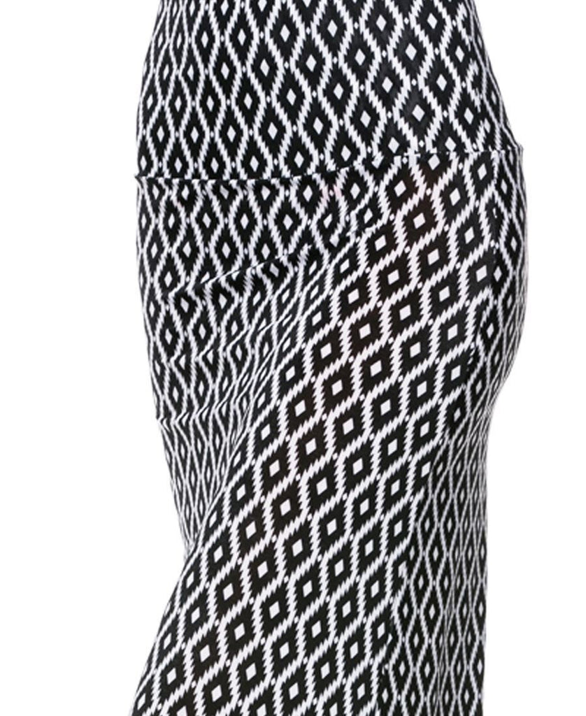 Infinity Diamond Native Black White Foldover Maxi Skirt