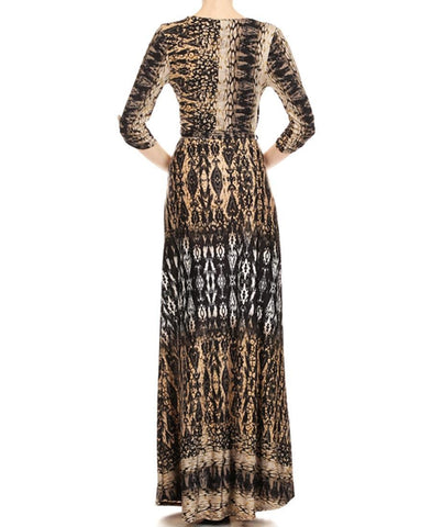 Maxi Dress with Sleeves Python Black Tan