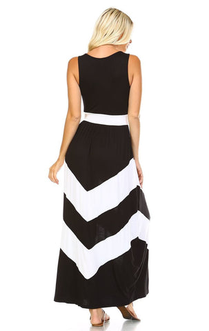 Sleeveless Long Evening Chevron Maxi Dress Black White