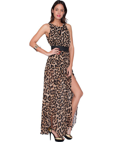 Maxi Dress Sexy High Slit Leopard Print